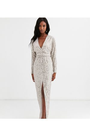 ASOS ASOS DESIGN Tall maxi dress with batwing sleeve and wrap waist in scatter sequin
