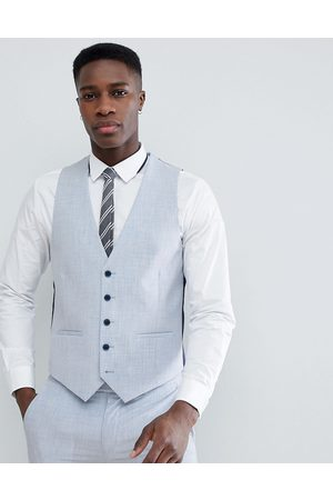 Farah Farah Skinny Wedding Suit Waistcoat In Cross Hatch