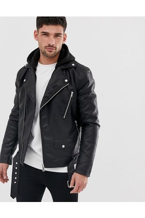 River Island Faux leather biker jacket with hood in