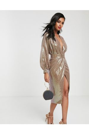 ASOS Midi dress with blouson sleeve and belt in irridescent sheet sequin