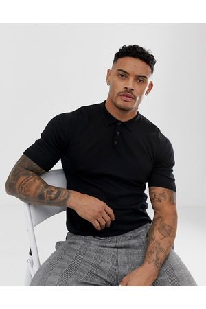 ASOS Knitted muscle fit polo shirt in