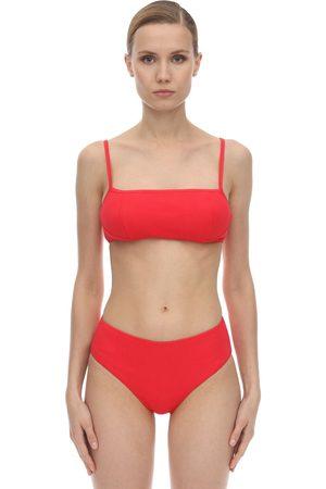 Ganni Textured Lace-up Bikini Top