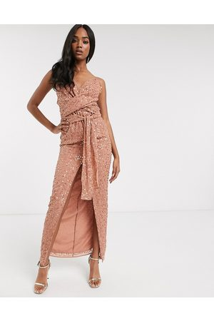 ASOS Cami maxi dress with wrap waist in scatter sequin