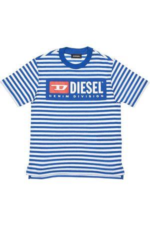 Diesel Gestreiftes T-shirt Aus Baumwolljersey