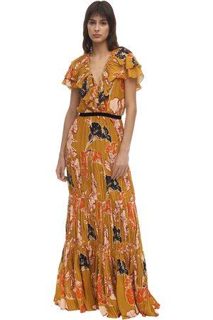 JOHANNA ORTIZ Printed Creped De Chine Long Dress