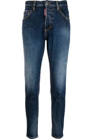 Dsquared2 Damen Straight - Mid rise logo apliqué jeans