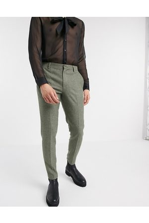 ASOS Super skinny smart trousers in mid green dog tooth