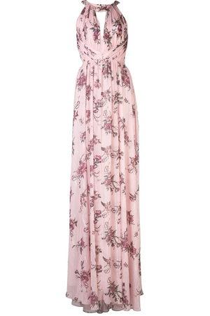Marchesa Notte Halterneck floral bridesmaid dress