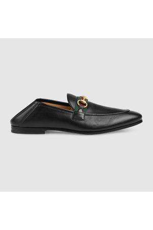 Gucci Herren Halbschuhe - Herrenloafer aus Leder mit Horsebit und Web