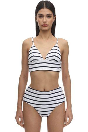 Eberjey Retro Striped Nylon Blend Rib Bikini Top