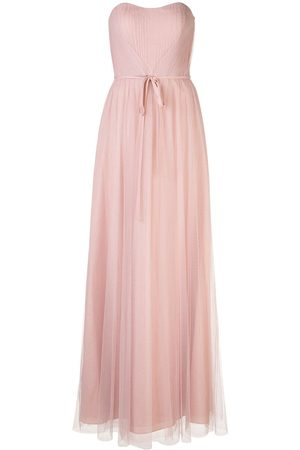 Marchesa Notte Strapless tulle long bridesmaid gown