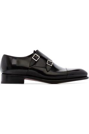 santoni Double strap leather monk shoes