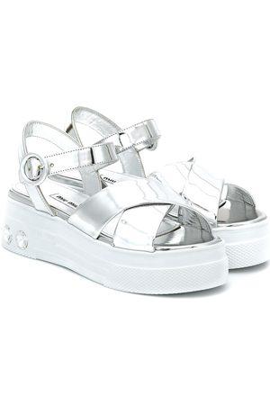 Miu Miu Sandalen aus Metallic-Leder