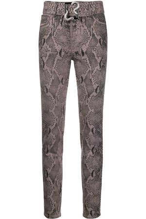 Roberto Cavalli Damen High Waisted - Belted high-rise skinny jeans