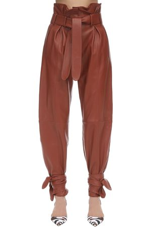 The Attico Leather High Waist Pants W/knot