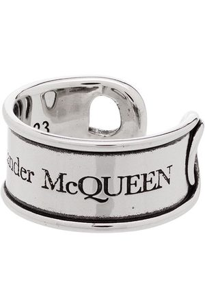 Alexander McQueen Engraved safety-pin ring