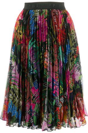 Philipp Plein Damen Bedruckte Röcke - Jungle rock print pleated skirt