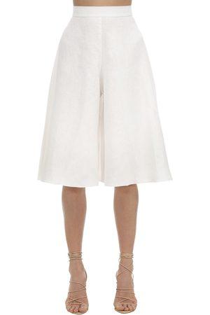 LIYA Damen Shorts - Linen Blend Bermuda Shorts