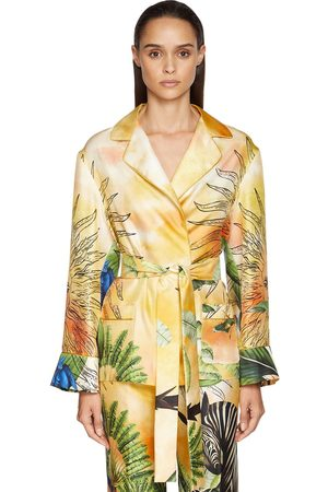 F.R.S For Restless Sleepers Damen Shirts - Jungle Print Silk Twill Wrap Shirt