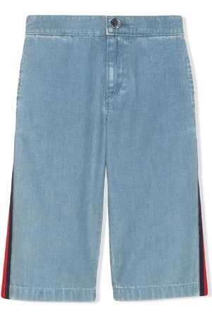 Gucci Web detail wide leg jeans