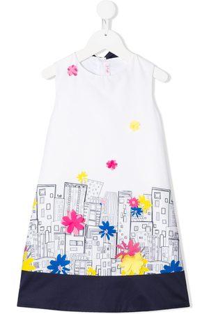 Il gufo Mädchen Bedruckte Kleider - Sleeveless abstract city print dress