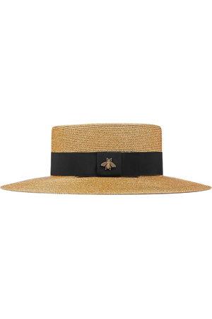 Gucci Damen Hüte - Bee-embellished boater hat