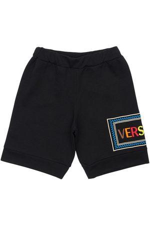 VERSACE Shorts Aus Baumwollfleece Mit Logo
