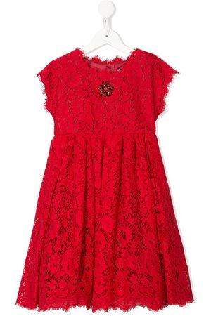 Dolce & Gabbana Crystal-flower floral-lace dress