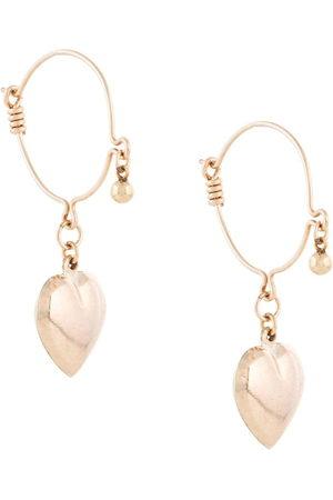 Petite Grand Heart drop hoop earrings