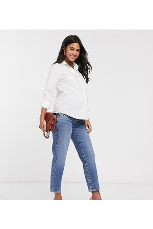 River Island Maternity Overbump straight leg jeans in mid auth