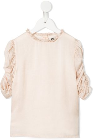 Velveteen Dionne rouched sleeves blouse
