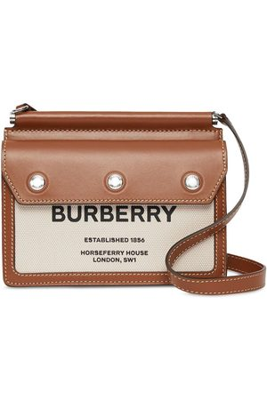 Burberry Mini Horseferry print leather and canvas Title bag