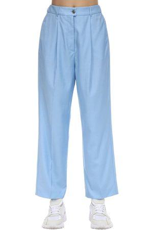Agnona High Waist Wide Leg Wool Pants