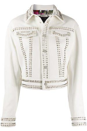Philipp Plein Damen Lederjacken - Skull stud leather jacket