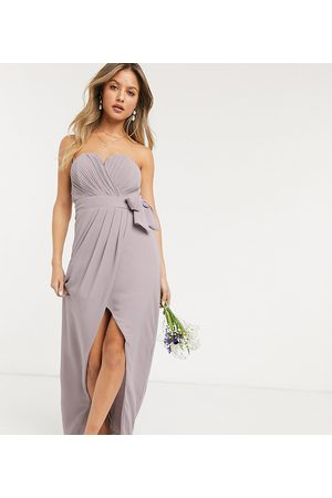 TFNC Bridesmaid exclusive bandeau wrap midaxi dress with pleated detail in