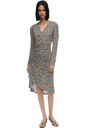 Atlein Damen Bedruckte Kleider - Floral Print Jersey Midi Dress