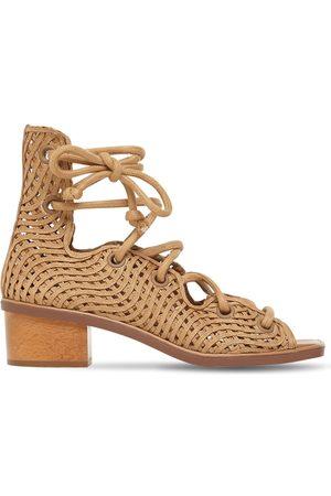 Stella McCartney Damen Schnürschuhe - 40mm Woven Faux Leather Lace-up Sandals