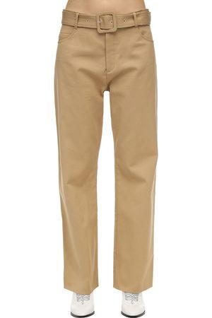 Courrèges Damen Weite Hosen - Belted Cotton Twill Wide Leg Pants