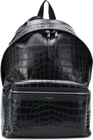 Saint Laurent City crocodile-effect backpack