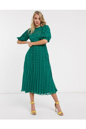 ASOS High neck pleated chevron dobby midi dress with puff sleeve in forest