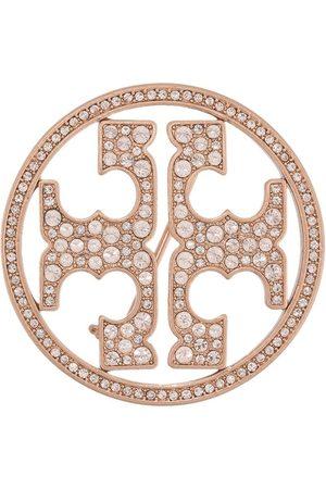 Tory Burch Crystal-embellished logo brooch