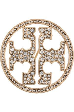Tory Burch Crystal embellished logo brooch