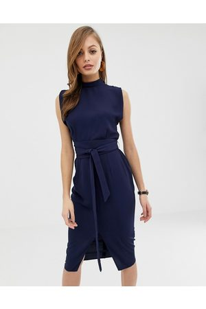ASOS DESIGN Damen Midikleider - Split sleeve midi dress with obi belt in