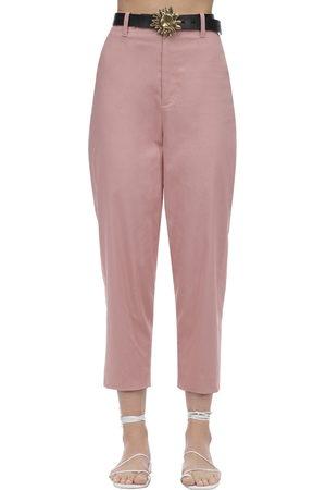 Acheval Pampa Al Viento Cropped Cotton Satin Pants