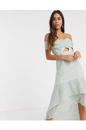 ASOS Off shoulder embrodiered midi pencil dress with ruffle detail and knot tie in light