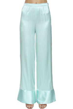 Taller Marmo High Waist Silk Blend Wide Leg Pants