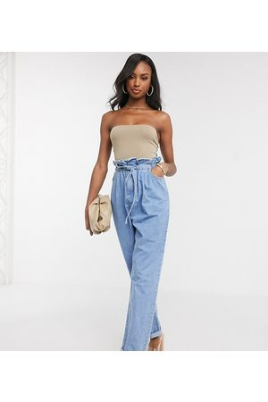ASOS ASOS DESIGN Tall tapered leg jeans with paper bag waist in light vintage wash