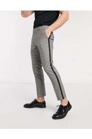 Moss Bros Moss London cropped checked trousers with side stripe