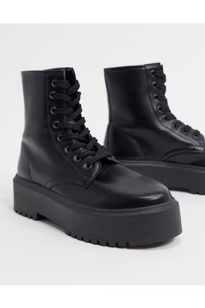 ASOS Attitude 2 lace up chunky boots in black