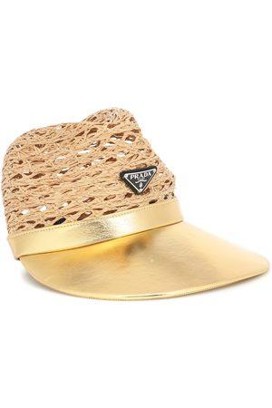 Prada Damen Hüte - Hut aus Raffiabast und Leder